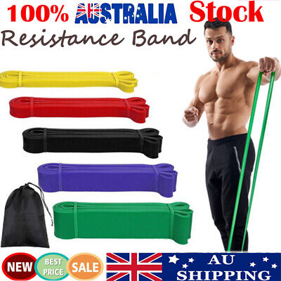 AU32.99 • Buy Set Of 5 Resistance Band Loop Power Gym Fitness Exercise Yoga Workout Heavy Duty