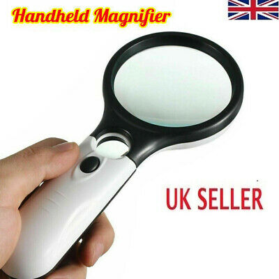 £4.97 • Buy Handheld 45X Magnifier Reading Magnifying Glass Jewelry Loupe With 3 LED Light