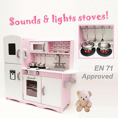 M2S Kids Wooden Play Kitchen Pretend Play Utensils Toys Cooking Role Play Set • 79.99£