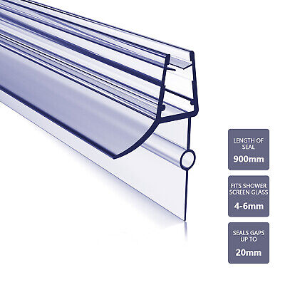 Shower Seal Strip For 4-6 Mm Glass Bath Screen Door Panel Up To 20 Mm Gap Clear • 6.49£