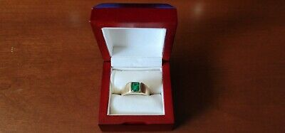 $629 • Buy Men's Solid 14kt Gold Ring With Lab Emerald  FREE 2 DAY SHIPPING!