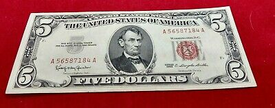 $ CDN46.57 • Buy 1963 $5 Red Seal United States Note Bill CHOICE UNCIRCULATED AA SERIAL LETTER 2