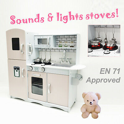 M2S Kids Wooden Play Kitchen Pretend Play Utensils Toys Cooking Role Play Set • 77.99£