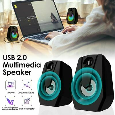 £10.89 • Buy Surround Sound System LED PC Speakers Gaming Bass USB Wired For Desktop Computer