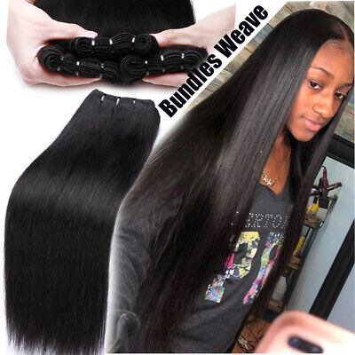 £60.29 • Buy Silky Straight 3Bundles Weft Peruvian Virgin Human Hair Extensions Weave THICK F