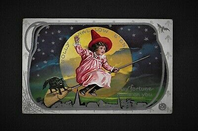 $ CDN50.26 • Buy Vintage HALLOWEEN Postcard Pretty Witch Fly's Across Moon With Cat Series 304