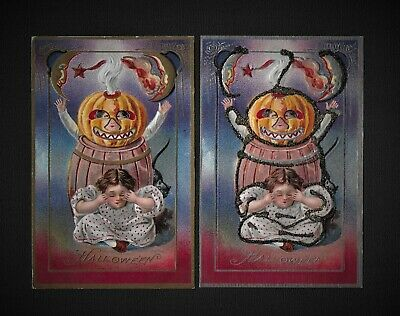 $ CDN107.30 • Buy Vintage Nash HALLOWEEN Postcards In Gold And Rare Silver Adorned Version
