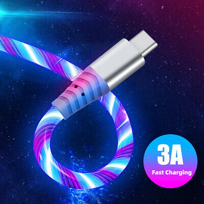 AU9.49 • Buy 1M LED Flowing Light Up USB Sync Type-C IPhone Charger Data Cable Charging Cord
