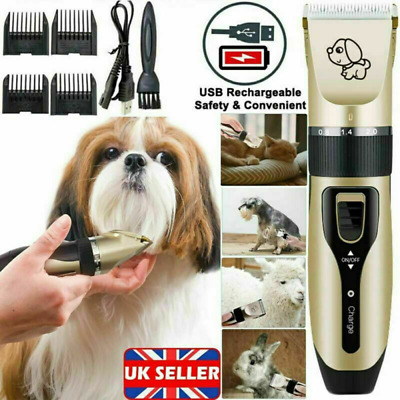 Electric Pet Cat Dog Grooming Clippers Hair Trimmer Shaver Kit Cordless Quiet UK • 10.98£