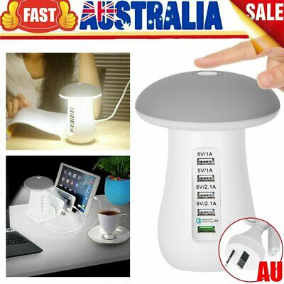 AU34.95 • Buy 5 Ports USB Charging Station Dock Multi Port Phone Fast Charger Hub LED Lamp NEW