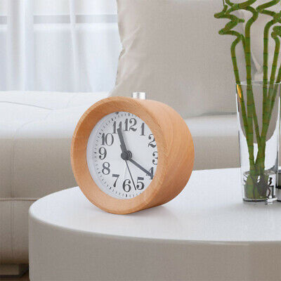 Round Wood Alarm Clock Silent Table Snooze Beech Night Light Function Classic UK • 13.98£