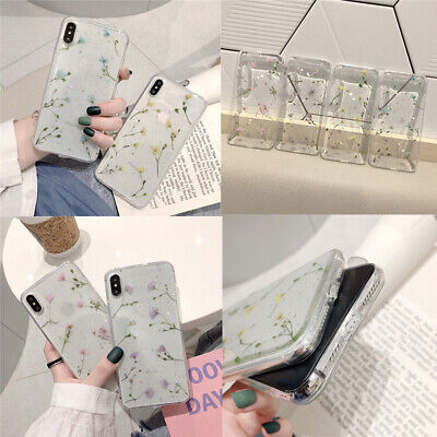 Case For IPhone 11 6 7 8 XS XR Dried Real Floral Soft Clear Glitter Phone Cover • 4.25£