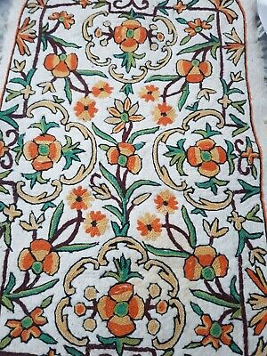 Vintage Embroidered Hand  Felted Wool Rug  90cm X 60cm • 30£