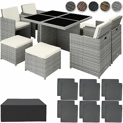 Poly Rattan Furniture Cube Set Dining Room Wicker 8 Seater Table Garden Patio • 1,087.95£