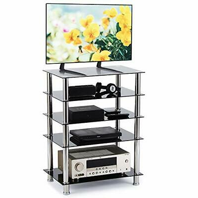 RFIVER HiFi Rack AV Shelf TV Table Stand 5 Tiers Tempered Glass Shelves For • 114.05£