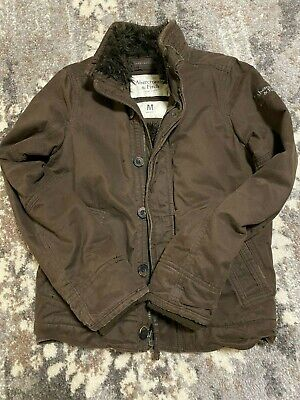 £108.65 • Buy Mens Medium Abercrombie And Fitch Fur Lined Heavy Brown Bomber Jacket