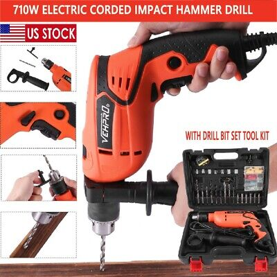 """View Details 1/2"""" Corded Electric 710W Hammer Drill  With Drill Bit Set Tool Kit Heavy Duty • 39.99$"""