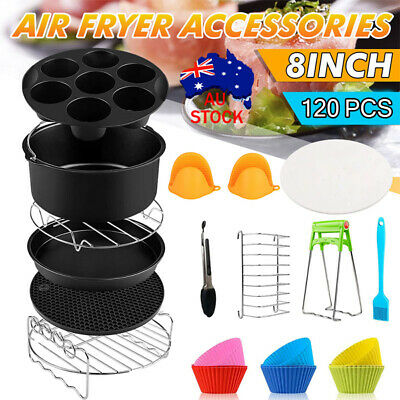AU25.59 • Buy 8 Inch Air Fryer Accessories Frying Cage Dish Baking Pan Rack Pizza Tray Pot AU