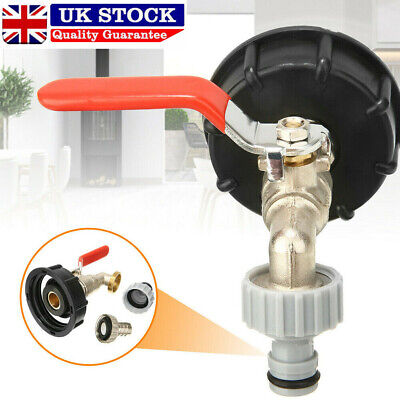 IBC  Water Tank Outlet Adapter With Brass Tap +1/2  Snap On Hose Connector Valve • 9.49£