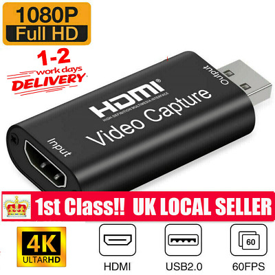 HDMI Video Capture Card USB 2.0 1080p HD Recorder For Video Live Streaming/Game • 8.45£