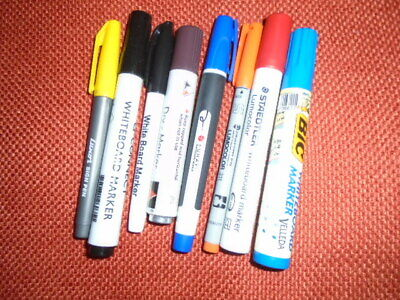 Bundle Of 8 Whiteboard Marker Pens, Incl STAEDTLER, Various Colours, All Working • 4.99£
