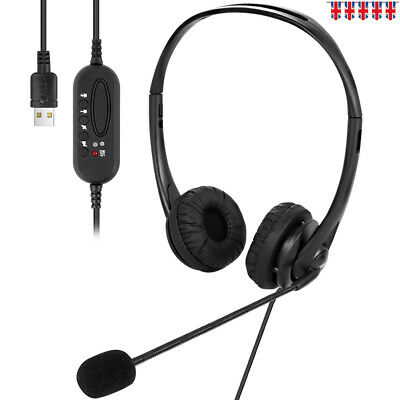 USB Wired Headset Earphone W/ Noise Concealing Microphone Mic For Laptop Desktop • 13.32£