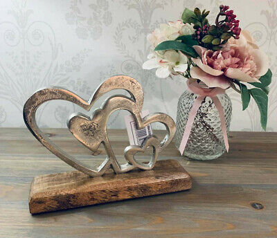 Double Twin Silver Hearts Ornament On A Wooden Base Shabby Chic Home Decor • 13.95£