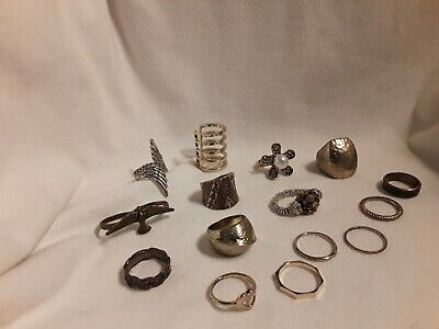 $ CDN40.60 • Buy Jewelry Lot Of 15 Rings Vintage Retro Costume Finger Bands Heart SIZE 8 To 8 1/2