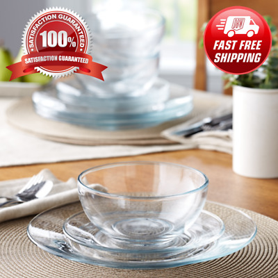 $41.99 • Buy New Beautiful 12-Piece Square Clear Glass Dinnerware Dining Set Dinner Meal