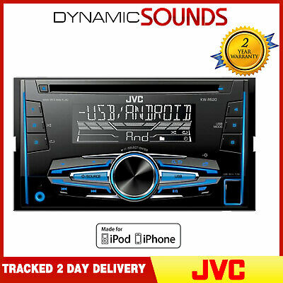 AU210.78 • Buy JVC KW-R520 CD MP3 Double Din Car Stereo USB Tuner Front Aux In Android Ready
