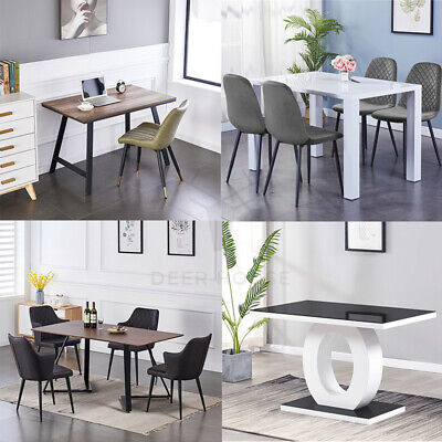 White Gloss Dining Table Set And 4 Leather Chairs Seats Seater Chrome Legs UK • 179.99£