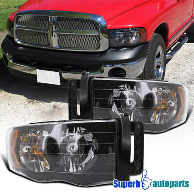 $69.98 • Buy For 2002-2005 Dodge Ram 1500 03-05 2500 3500 Headlight Head Lamps Black