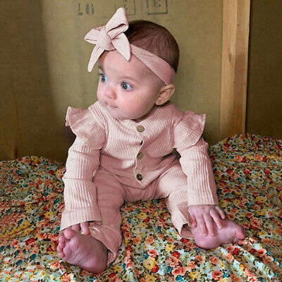 Newborn Baby Cotton Romper Jumpsuit Girls Ribbed Clothes Headband Ruffle Outfits • 7.69£