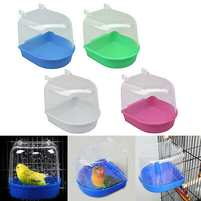 Plastic Bird Water Bath Box Bathtub Parrot For Parakeet Hanging Bowl_wk • 3.42£