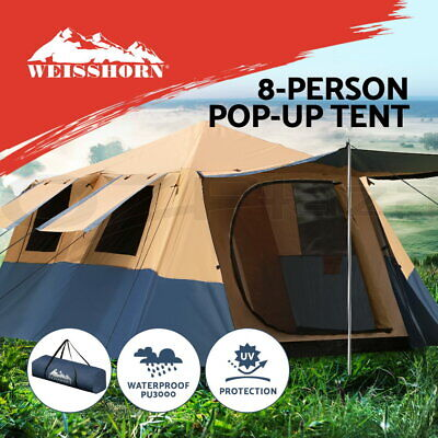 AU249.90 • Buy Weisshorn Instant Up Camping Tent 8 Person Pop Up Tents Family Hiking Dome Camp
