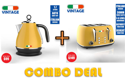AU199.99 • Buy Vintage Electric Kettle + Toaster Combo Deal Stainless Steel Not Delonghi Yellow