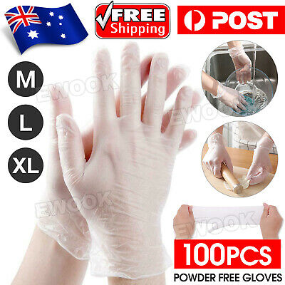 AU18.95 • Buy 100pcs Disposable Gloves Vinyl Powder Free/ Powdered Food Safe Protective Glove