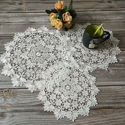 Round Embroidery Lace Placemat Pad Insulation Table Mat Wedding Party Home Decor • 3.79£