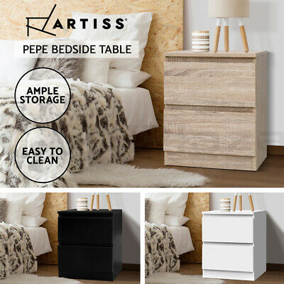 AU59.95 • Buy Artiss Bedside Tables Side Table 2 Drawers Nightstand Bedroom Black/Whie/Wood