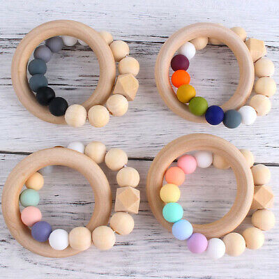 £3.15 • Buy Natural Wooden Ring Silicone Beads Baby Teething Sensory Bracelets Teether Toys