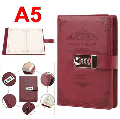 £11.89 • Buy PU Leather Vintage Journal Writing Notebook Password Lockable Notebook Notepad