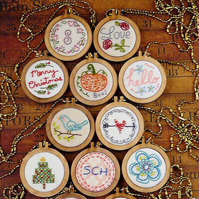 DIY Round Mini Wooden Cross Stitch Embroidery Hoop Ring Frame Machine Fixed W0 • 4.43£