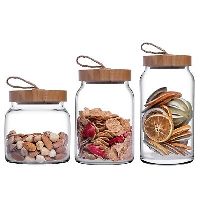 Pasabahce Air Tight Food Storage Glass Jars With Wooden Lids 575ml 860ml 1.13L   • 17.49£