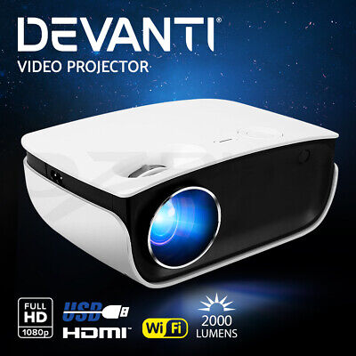 AU124.95 • Buy Devanti Mini Video Projector Wifi USB HDMI Portable 2000 Lumens HD 1080P Home