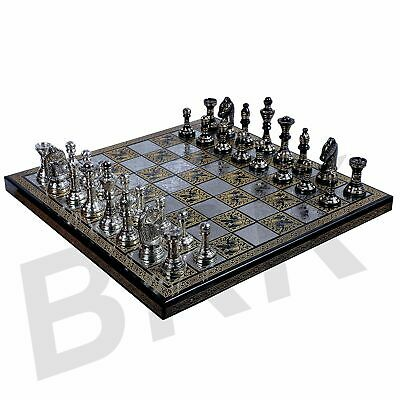 Chess Board Metal Brass Handmade Premium Large Chess Board Set Wooden With Brass • 219.30£