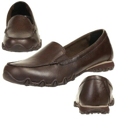 Skechers Bikers Lamb Ladies Summer Shoes Slip On Slippers Ballerina Leather Choc • 46.15£