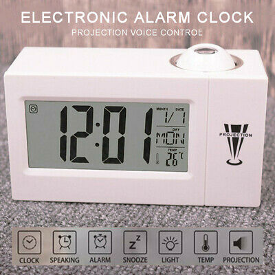 AU12.99 • Buy LED Alarm Projection LCD Voice Talking Time Clock Temperature Digital Projector