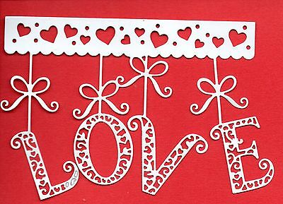 New Large Hanging Love Die Cuts   -white Heart Topper-wedding Valentine Baby • 1.75£