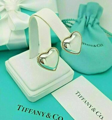 £387.99 • Buy Tiffany & Co Silver & 18Ct Yellow Gold Puff Heart Rope Clip On Earrings Vintage
