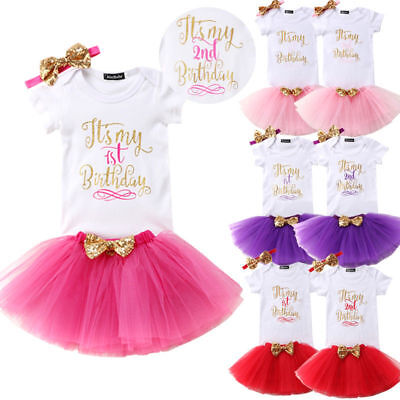 AU20.61 • Buy 3PCS Baby Girl 1st Birthday Dress Cute Skirt Headband Costume Outfit Set T-Shirt